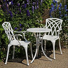 Lazy Susan - ELLA 60 cm Bistrotisch mit 2 Stühlen - Rundes Gartenmöbel Set aus Metall, Weiß (APRIL Stühle)