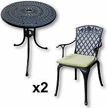 Lazy Susan - EVE 60 cm Bistrotisch mit 2 Stühlen - Rundes Gartenmöbel Set aus Metall, Antik Bronze (ROSE Stühle, Grüne Kissen)