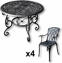 Lazy Susan - FLORA 103 cm Runder Gartentisch mit 4 Stühlen - Gartenmöbel Set aus Metall, Antik Bronze (APRIL Stühle)