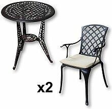 Lazy Susan - IVY Bistrotisch mit 2 Stühlen - Rundes Gartenmöbel Set aus Metall, Antik Bronze (EMMA Stühle, Beige Kissen)