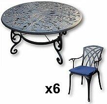 Lazy Susan - JOYCE 135 cm Runder Gartentisch mit 6 Stühlen - Gartenmöbel Set aus Metall, Antik Bronze (APRIL Stühle, Blaue Kissen)