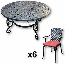 Lazy Susan - JOYCE 135 cm Runder Gartentisch mit 6 Stühlen - Gartenmöbel Set aus Metall, Antik Bronze (ROSE Stühle, Terracotta Kissen)