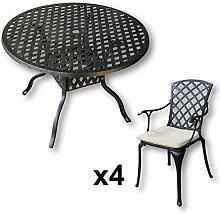 Lazy Susan - LISA 106 cm Runder Gartentisch mit 4 Stühlen - Gartenmöbel Set aus Metall, Antik Bronze (EMMA Stühle, Beige Kissen)