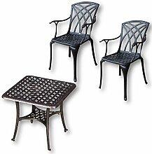 Lazy Susan - SANDRA Quadratischer Kaffeetisch mit 2 APRIL Stühlen - Gartenmöbel Set aus Metall, Antik Bronze