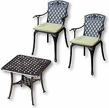 Lazy Susan - SANDRA Quadratischer Kaffeetisch mit 2 ROSE Stühlen - Gartenmöbel Set aus Metall, Antik Bronze (Grüne Kissen)