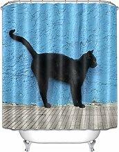 LB 180x180cm Polyester Stoff Bad Vorhänge mit 12 Haken Wasserdicht Die schwarze Katze Patterned Duschvorhang für Bad Dekoration, blau
