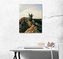LB Ananas in den Rissen Bild Druck auf Leinwand Wandkunst Ölgemälde Schlafzimmer Badezimmer Küche Wohnaccessoire gerahmt 40x50 cm