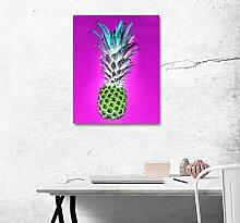 LB Aquarell, lila Hintergrund, kreative Ananas, Bild Druck auf Leinwand Wandkunst Ölgemälde Schlafzimmer Badezimmer Küche Wohnaccessoire gerahmt 40x50 cm