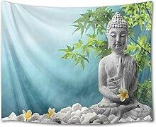 LB Buddha-Statuen Blätter Orchideen Pflanzen Bild
