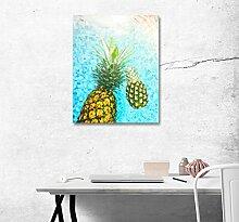 LB Closeup Ananas, Wasser Welle Textur Hintergrund, Bild Druck auf Leinwand Wandkunst Ölgemälde Schlafzimmer Badezimmer Küche Wohnaccessoire gerahmt 40x50 cm