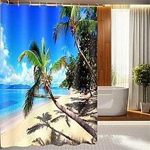LB Duschvorhang aus Stoff mit 12 Duschvorhangringe   Wasserdicht Anti-Schimmel Polyester Duschvorhang   180x180cm Strand Palme, blauer Himmel Muster 3D Digitaldruck für Badezimmer Dekoration
