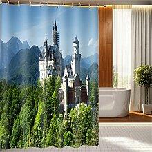 LB Duschvorhang aus Stoff mit 12 Duschvorhangringe   Wasserdicht Anti-Schimmel Polyester Duschvorhang   180x180cm Schloss auf der Oberseite des grünen Berges Muster 3D Digitaldruck für Badezimmer Dekoration