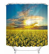 LB Duschvorhang aus Stoff mit 12 Duschvorhangringe   Wasserdicht Anti-Schimmel Polyester Duschvorhang   180x180cm Eine Masse von Wolke Sonnenuntergang und Gelbes Feld Muster 3D Digitaldruck für Badezimmer Dekoration