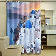 LB Duschvorhang aus Stoff mit 12 Duschvorhangringe   Wasserdicht Anti-Schimmel Polyester Duschvorhang   180x180cm Schloss auf dem Berg gelegen Muster 3D Digitaldruck für Badezimmer Dekoration