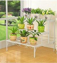 LB Eisen Blumenhalter Multi - Storey Leiter Blume Topf Regal Outdoor Wohnzimmer Balkon Blumenregale Montage Blumentopf Regal ( farbe : Weiß )