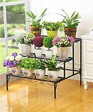 LB Eisen Blumenhalter Multi - Storey Leiter Blume Topf Regal Outdoor Wohnzimmer Balkon Blumenregale Montage Blumentopf Regal ( farbe : Schwarz )