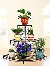 LB Eisen Blumenregal Multilayer Blumenregal Balkon Indoor Flower Pot Blumenregal Ecke Leiter Blumenregal Schwarz Und Bronze Montage Blumentopf Regal ( farbe : B )