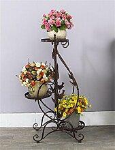 LB Eisen Blumentopf Regal Mehrstöckiges Wohnzimmer Balkon Blumentopf Regal Minimalist Wohnzimmer Blumentopf Regal Montage Blumentopf Regal ( farbe : Messing )