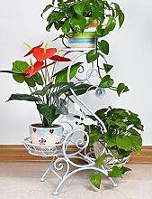 LB Europäische - Stil Eisen Antique Boden Blumentopf Regal hält 3-Blumentopf für Indoor, Balkon, Wohnzimmer Montage Blumentopf Regal ( farbe : Weiß )