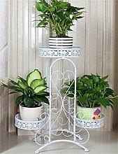 LB European-style schmiedeeisernen Boden Flower Pot Regal für Balkon, Interior, Wohnzimmer Montage Blumentopf Regal ( farbe : Weiß )