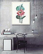 LB Foto/Bild Druck auf Leinwand,Ölgemälde Leinwand Wandkunst/Lotus Blume/Zuhause Dekoration,1 Stück Wand Dekor,40 x 50 CM,mit Rahmen,Fertig Zum Aufhängen