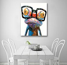 LB Foto/Bild Druck auf Leinwand,Ölgemälde Leinwand Wandkunst/Ein Frosch mit Brille/Zuhause Dekoration,1 Stück Wand Dekor,40W x 50H CM,mit Rahmen,Fertig Zum Aufhängen