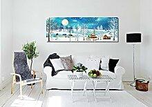 LB Foto/Bild Druck auf Leinwand,Ölgemälde Leinwand Wandkunst/Ruhige Hütte,Schneemann,Vollmond/Zuhause Dekoration,3 Stück Wand Dekor,40 cm x 40 cm,Mit Rahmen,Fertig Zum Aufhängen