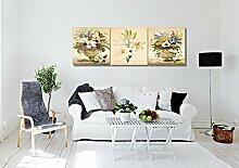 LB Foto/Bild Druck auf Leinwand,Ölgemälde Leinwand Wandkunst/Blumen - Weiße Lilie/Zuhause Dekoration,3 Stück Wand Dekor,40 cm x 40 cm,Mit Rahmen,Fertig Zum Aufhängen