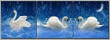 LB Foto/Bilddruck auf Leinwand Ölgemälde Leinwand Wandkunst/Mondsichel,Weißer Schwan/Zuhause Decoration,3 Stück Wand Dekor,40 CM x 40 CM,Mit Rahmen,Fertig Zum Aufhängen