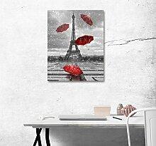 LB Grauer Hintergrund, Turm, roter Regenschirm, fliegen, Bild Druck auf Leinwand Wandkunst Ölgemälde Schlafzimmer Badezimmer Küche Wohnaccessoire gerahmt 40x50 cm