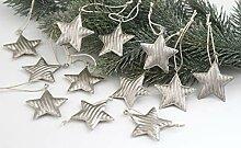 LB H&F 12er Weihnachts-ANHÄNGER Set Metall-Sterne