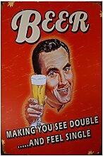 LB H&F Blechschild Blech Schild Bier (Bierglas)