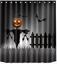 LB Halloween Duschvorhang, Kürbis Laterne,