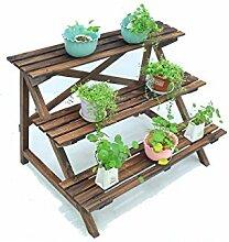 LB Karbonisiertes hölzernes mehrschichtiges Blumen-Gestell-Pflanzer-Standplatz-Wohnzimmer-Balkon-Leiter-Blumen-Töpfe Regal Montage Blumentopf Regal ( größe : 96*60*62cm )