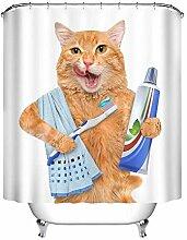 LB Katzen Duschvorhang mit Haken, Tier Zahnpasta