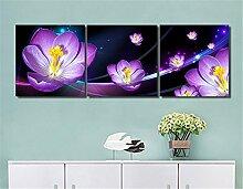 LB Lila,Blume_Moderne Ölgemälde Bild Druck auf Leinwand Wandkunst für Wohnzimmer,Schlafzimmer,Dekoration,3 Stück 40x40,mit Rahmen