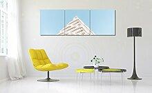 LB Moderne Ölgemälde Leinwand Wandkunst /Geometrie - Blauer Himmel/ Das Foto / Bild für Heimtextilien,3 Stück Wand Dekor,40 cm x 40 cm,Ohne Rahmen