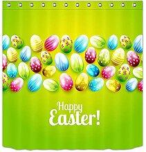 LB Ostern,Ei,Blau,Gelb,Rot_Dekor Duschvorhang für