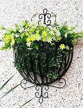 LB Pastoral Eisen Wand Hängende Korb Blumentöpfe Rack für Wohnzimmer, Balkon, Wall Hanging Flower Pot Regal Montage Blumentopf Regal ( farbe : Schwarz )