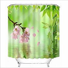LB Rosa Blume Grüner Bambus See Duschvorhang Für