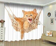 LB Verdunklungsvorhänge Polyester Lärm reduziere Fenster Drapiert-- Die Katze gähnte auf der Hängematte 3D Drucken Verdunklung Gardine Für Wohnzimmer Schlafzimmer Vorhang dekoration