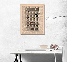 LB Vintage Papier, Gebäude, Bild Druck auf Leinwand Wandkunst Ölgemälde Schlafzimmer Bad Küche Wohnaccessoire gerahmt 40x50 cm