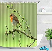 LB Vogel Baum Zweig Foto Duschvorhang für