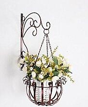 LB Wandmontiertes Blumenregal Europäische Art Eisen Blumentöpfe Regal Außenwand mit einem Korb Blumentopf Rack Montage Blumentopf Regal ( farbe : Messing , größe : 26cm*37cm*54cm )