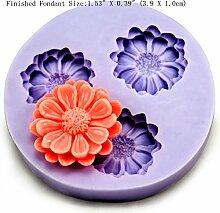 LC Blumen Drei Mulden X129Silikon Fondant Form