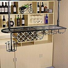 LC Continental Eisen Weinregal / Weinglas Rack 60cm, 80cm, 100cm Länge Optional ( Farbe : Schwarz , größe : 80cm long and 25cm wide )