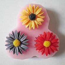 LC Drei Blumen X027Silikon Fondant Form Kuchen Form Schokolade Backen Sugarcraft Dekorieren Werkzeuge