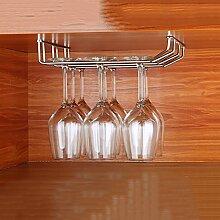 LC Edelstahl-Glas-Aufhänger, Glas-Halter, Glas-Rack, Stemware Rack, Weinglas Rack, Champagner Glas Rack Silber ( größe : 22CM three rows )