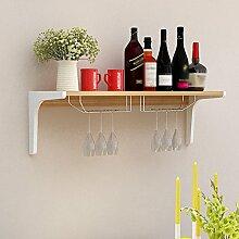 LC Europäischen Stil Farbe Einfache Weinregal / Weinglas Rack Restaurant Wohnzimmer Hängen ( Farbe : Light walnut , größe : L80CM )