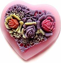 LC Herzen Form Blume, X504Silikon Fondant Form Kuchen Form Schokolade Backen Sugarcraft Dekorieren Werkzeuge